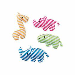 Stuffed Striped Zoo Animals - Toys - 12 Pieces