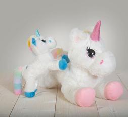 "Stuffed Unicorn Animal Set, Plush 16"" Large Mommy Unicorn an"