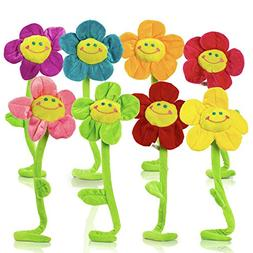 Plush Daisy Flower with Smiley Happy Faces Colorful Soft Ben