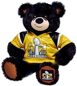Build a Bear Super Bowl 50 Black Teddy Gold Jersey 16 in. St