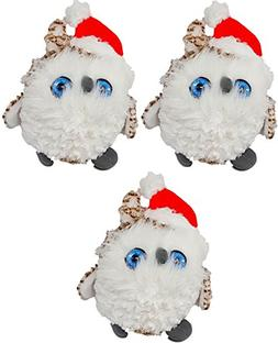 "This Super Plush White Holiday Snow Owl 7"" Stuffed Animal Th"