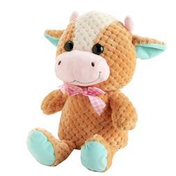 "Super Soft Cow Plush 15"" Stuffed Animal w/ Glitter Eyes New"