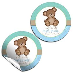 Teddy Bear Boy Birthday Party Thank You Sticker Labels, 40 2