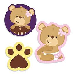 Baby Girl Teddy Bear - DIY Shaped Baby Shower Party Cut-Outs