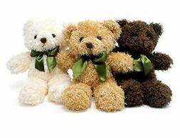PLUFFINS Teddy Bear PLUSH- Stuffed ANIMAL in 3 Colors - 3-Pa