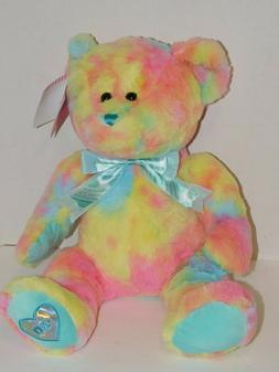 Teddy Bear Plush Stuffed Animal Tie Dye Pastel 14 Inch