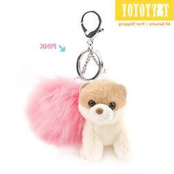 """Genuine GUND BOO 4059999 Pom Pom Keychain 3"""" Pink Plush Toy"""