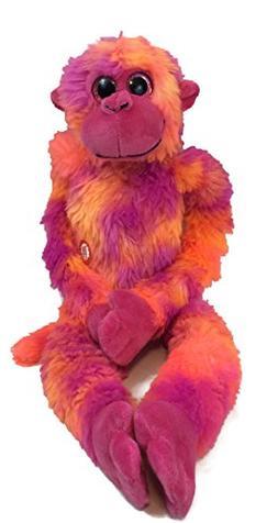 Tie Dye Orange and Pink Screeching Monkey Animal Plush Toy w