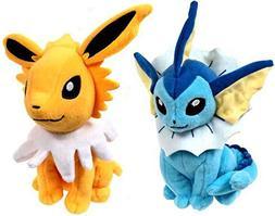 Pokemon TOMY 8 Inch Evolutions Plush Set Vaporeon & Jolteon