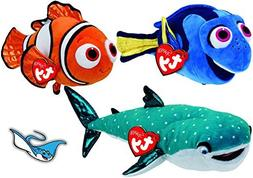 Ty Beanie Babies Finding Dory Fish NEMO, DORY, & Shark DESTI