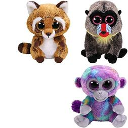 TY Beanie Babies Wasabi the Baboon, Zuri the Monkey and Rust