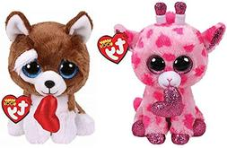 "2019 Valentine Set of 2 TY Beanie Boos 6"" SWEETUMS Giraffe a"