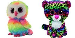 TY beanie boos set of 2, Dotty the leopard and Owen the owl