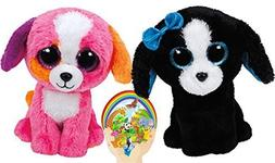 Ty Beanie Boos Pink PRECIOUS and Black & White TRACEY Dogs F