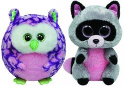 Ty Beanie Boos Rocco the Raccoon and Ballz Ozzy the Owl Set