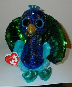 "Ty FLIPPABLES ~ TYSON the Peacock 6"" Beanie Boos NEW ~ IN HA"