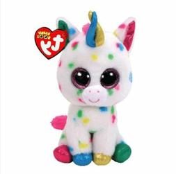 "Unicorn 6"" Ty Beanie Boos Whiskers Puppy Big Eyes Plush Stuf"