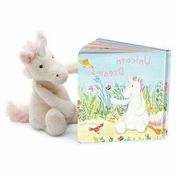 Jellycat Unicorn Dreams Board Book and Bashful Unicorn, Medi