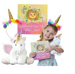 Unicorn Gift Set – Includes Book, Stuffed Plush Toy, and H