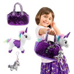 Unicorn Plush Pet 3pcs Set - Fancy Toys Pag Plush - White -