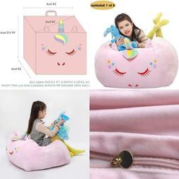 Unicorn Stuffed Animal Toy Storage Kids Bean Bag Chair Cover