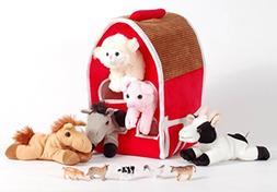 "Unipak 12"" Plush Red Barn Playset with 5 Stuffed Farm Animal"