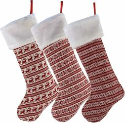 Wewill Unique Handmade Set Of 3 Striped Knit Christmas Stock