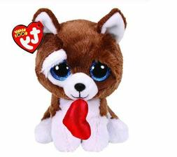 "Valentine Dog 6"" Ty Beanie Boos Puppy Glitter Big Eyes Plush"