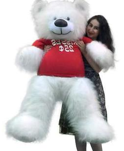 Valentine's Day Giant White Teddy Bear 55 inches Wears Tshir
