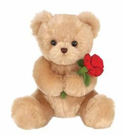 Valentines Plush Stuffed Animal Teddy Bear with Rose, 9.5 in
