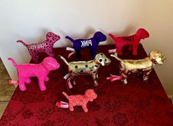 Victorias Secret Pink Dog Plush LOT OF 7 Metallic/ Polka Dot
