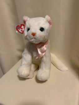TY VINTAGE 1999 BEANIE BUDDIES WHITE FLIP CAT PINK BOW STUFF