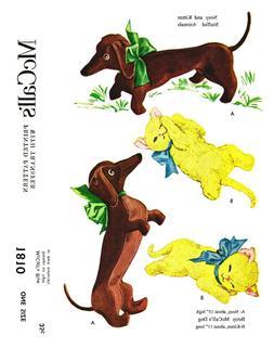 Vintage McCall's Stuffed Animals Nosy DOG KITTEN  Fabric Sew