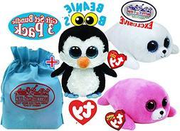 "TY Beanie Boos ""Sea Life"" Waddles, Icy & Pierre Gift Set Bun"