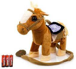 Toysery Kids Walking Pony Walk Along Toy Stuffed Plush Pony