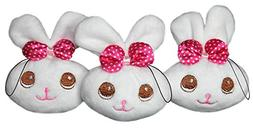 "Lucore 4"" Baby Girl White Bunnies Plush Lucky Charm Toys - 3"