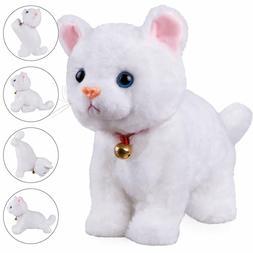 White Plush Cat Stuffed Animal Interactive Cat Robot Toy, Ro