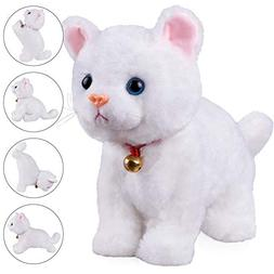 White Plush Cat Stuffed Animal Interactive Cat Robot Toy, Ba