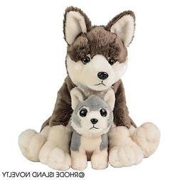 "Wolf and Baby Plush Stuffed Animals 12"""