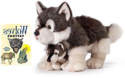 Nat & Jules Wolf Mom & Pup Plush Animal with Tattoo Book