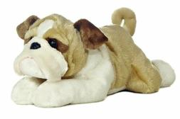 "Aurora World Flopsie 12"" Bean Filled Stuffed Cute Bulldog Wi"