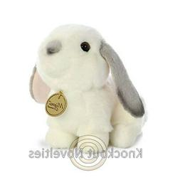 Aurora World Rabbit Miyoni Stuffed Animal, White and Gray, 8