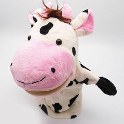 Xmas Cow Animals Hand Puppets Plush Stuffed Doll Nursery Kid