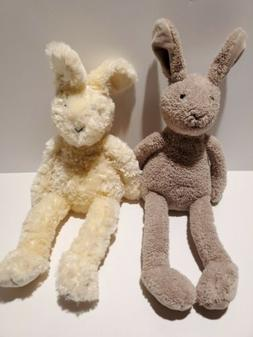 Y1 JELLYCAT Ivory Bunny Rabbit Soft Plush And Beige Bear Lot